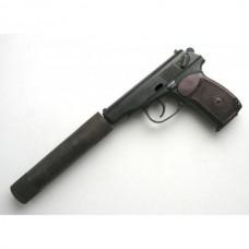 Пневматический пистолет Макарова ижевский механический завод Байкал  МР-654К-28 с бородой, гладким стволом, прокладкой ствола  и саундмодератором четырехкамерным в форме фальшглушителя  в комплекте.
